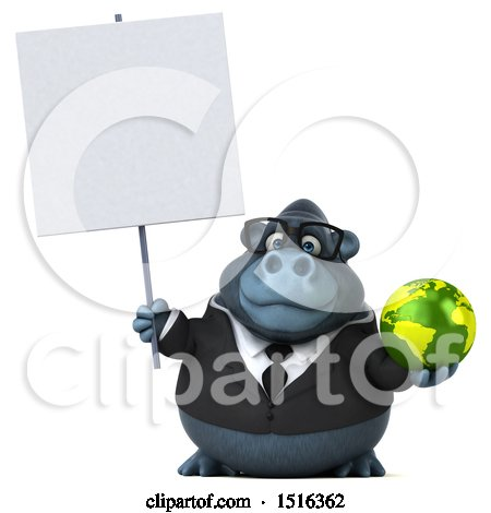 Clipart of a 3d Business Gorilla Mascot Holding a Globe, on a White Background - Royalty Free Illustration by Julos