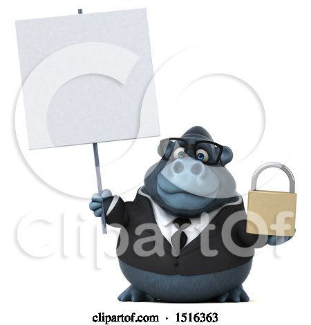 Clipart of a 3d Business Gorilla Mascot Holding a Padlock, on a White Background - Royalty Free Illustration by Julos