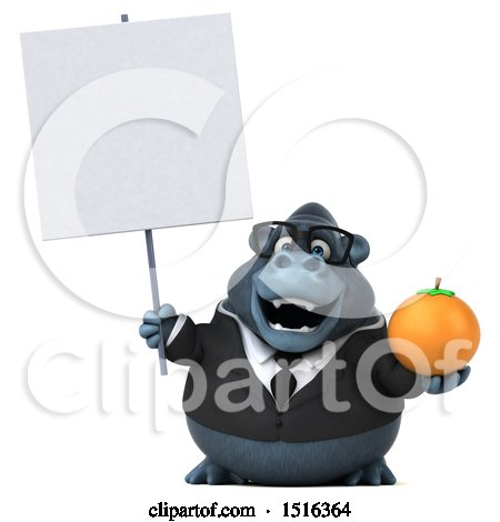 Clipart of a 3d Business Gorilla Mascot Holding an Orange, on a White Background - Royalty Free Illustration by Julos