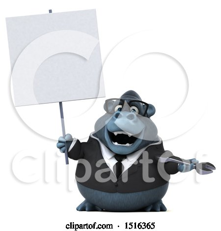 Clipart of a 3d Business Gorilla Mascot Holding a Wrench, on a White Background - Royalty Free Illustration by Julos