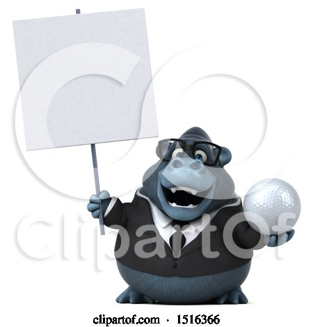 Clipart of a 3d Business Gorilla Mascot Holding a Golf Ball, on a White Background - Royalty Free Illustration by Julos