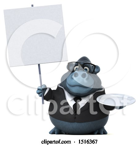 Clipart of a 3d Business Gorilla Mascot Holding a Plate, on a White Background - Royalty Free Illustration by Julos