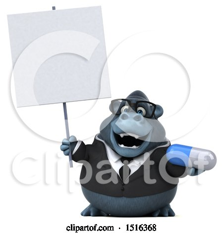 Clipart of a 3d Business Gorilla Mascot Holding a Pill, on a White Background - Royalty Free Illustration by Julos