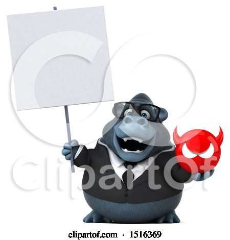 Clipart of a 3d Business Gorilla Mascot Holding a Devil, on a White Background - Royalty Free Illustration by Julos