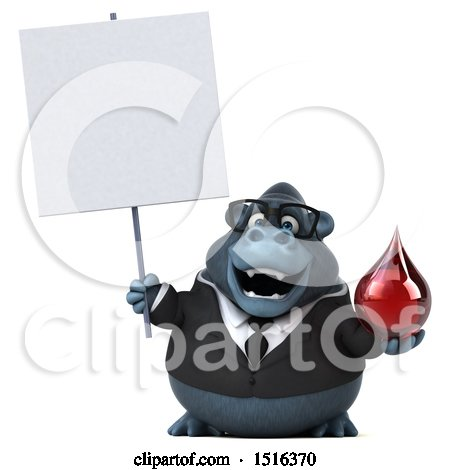Clipart of a 3d Business Gorilla Mascot Holding a Blood Drop, on a White Background - Royalty Free Illustration by Julos