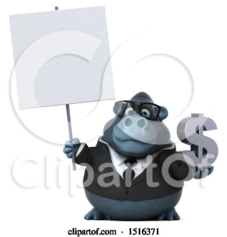 Clipart of a 3d Business Gorilla Mascot Holding a Dollar Sign, on a White Background - Royalty Free Illustration by Julos