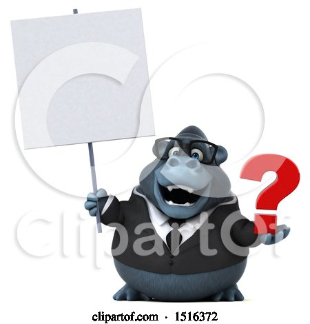Clipart of a 3d Business Gorilla Mascot Holding a Question Mark, on a White Background - Royalty Free Illustration by Julos