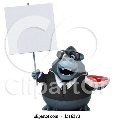 Clipart of a 3d Business Gorilla Mascot Holding a Steak, on a White Background - Royalty Free Illustration by Julos