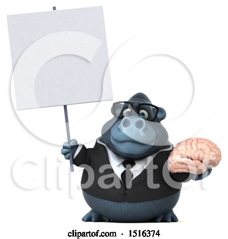 Clipart of a 3d Business Gorilla Mascot Holding a Brain, on a White Background - Royalty Free Illustration by Julos