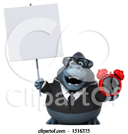 Clipart of a 3d Business Gorilla Mascot Holding an Alarm Clock, on a White Background - Royalty Free Illustration by Julos