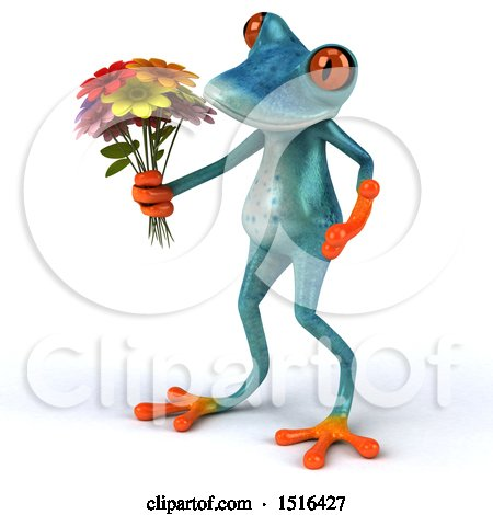 Clipart of a 3d Blue Frog Holding Flowers, on a White Background - Royalty Free Illustration by Julos