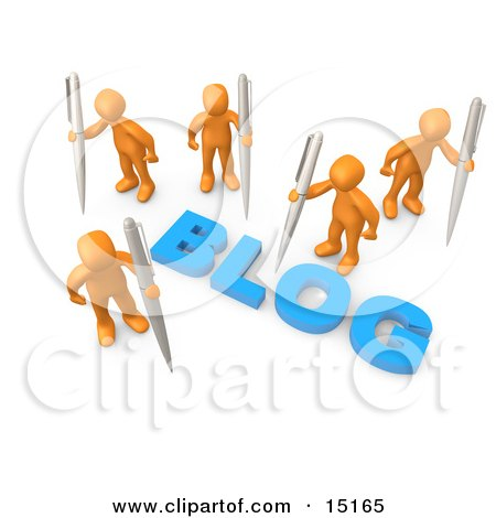 "Orange People Surrounding The Blue Word ""Blog"" And Holding Large Pens Clipart Illustration Graphic by 3poD"
