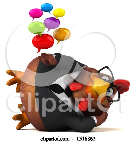Clipart of a 3d Chubby Brown Business Chicken Holding Messages, on a White Background - Royalty Free Illustration by Julos