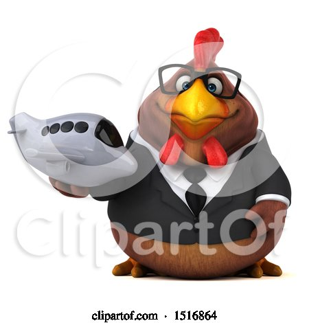 Clipart of a 3d Chubby Brown Business Chicken Holding a Plane, on a White Background - Royalty Free Illustration by Julos