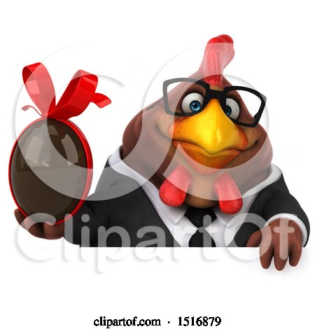 Clipart of a 3d Chubby Brown Business Chicken Holding a Chocolate Egg, on a White Background - Royalty Free Illustration by Julos