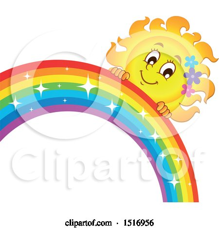 Clipart of a Sun Character and Rainbow - Royalty Free Vector Illustration by visekart