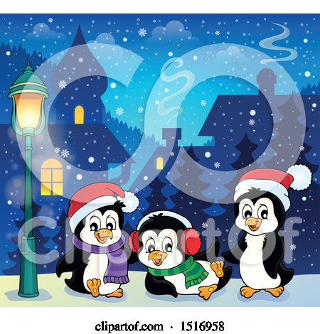 Clipart of a Snowy Town with Christmas Penguins - Royalty Free Vector Illustration by visekart