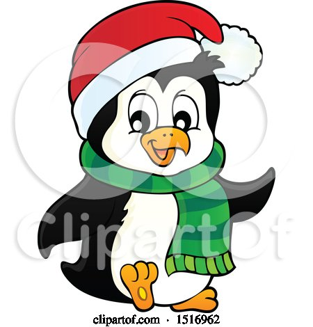 Clipart of a Christmas Penguin Wearing a Scarf and Santa Hat - Royalty Free Vector Illustration by visekart