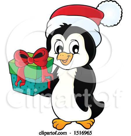 Clipart of a Christmas Penguin Wearing a Santa Hat and Holding a Gift - Royalty Free Vector Illustration by visekart