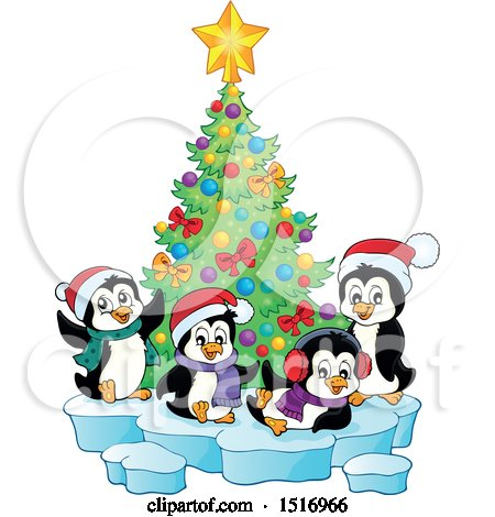 Clipart of a Christmas Tree and Penguins - Royalty Free Vector Illustration by visekart