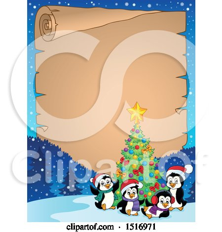Clipart of a Parchment Scroll Border of a Christmas Tree and Penguins - Royalty Free Vector Illustration by visekart