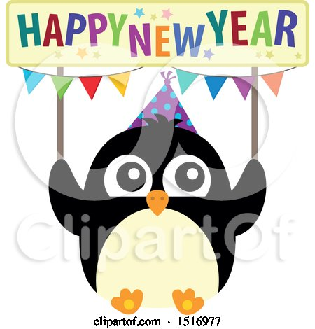 Clipart of a Party Penguin Holding a Happy New Year Sign - Royalty Free Vector Illustration by visekart