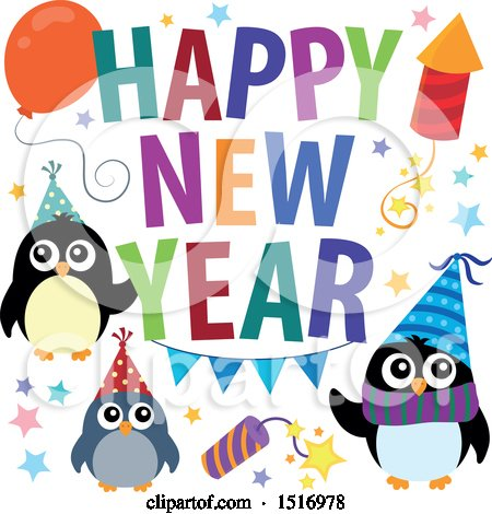 Clipart of a Happy New Year Greeting with Party Penguins - Royalty Free Vector Illustration by visekart