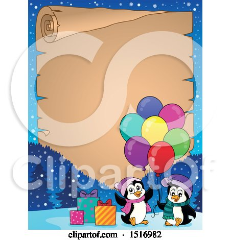 Clipart of a Parchment Border of Party Penguins with Balloons and Gifts - Royalty Free Vector Illustration by visekart