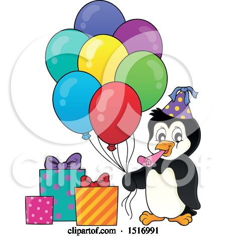 Clipart of a Party Penguin with Balloons and Gifts - Royalty Free Vector Illustration by visekart
