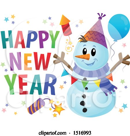 Clipart of a Happy New Year Greeting by a Snowman with a Firework and Balloons - Royalty Free Vector Illustration by visekart