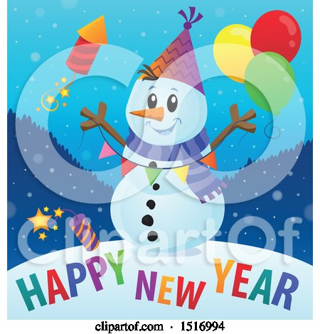 Clipart of a Happy New Year Greeting Under a Snowman with a Firework and Balloons - Royalty Free Vector Illustration by visekart