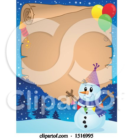 Clipart of a Parchment Scroll Border of a Snowman with a Firework and Balloons - Royalty Free Vector Illustration by visekart