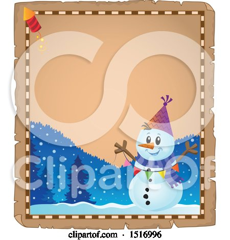 Clipart of a Parchment Border of a Snowman with a Firework - Royalty Free Vector Illustration by visekart