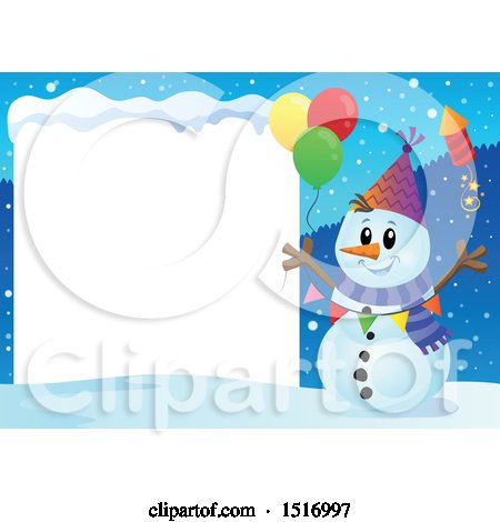 Clipart of a Blank Sign by a Snowman with a Firework and Balloons - Royalty Free Vector Illustration by visekart