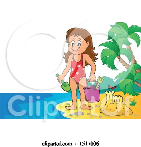 Clipart of a Girl by a Sand Castle on an Island Beach - Royalty Free Vector Illustration by visekart