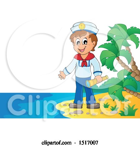 Clipart of a Sailor Holding a Telescope on an Island Beach - Royalty Free Vector Illustration by visekart