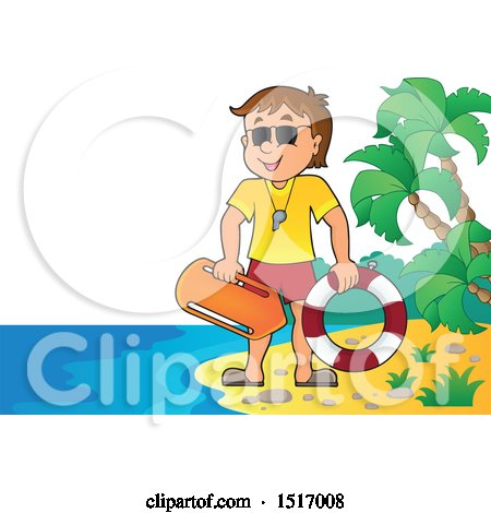 Clipart of a Lifeguard on an Island Beach - Royalty Free Vector Illustration by visekart