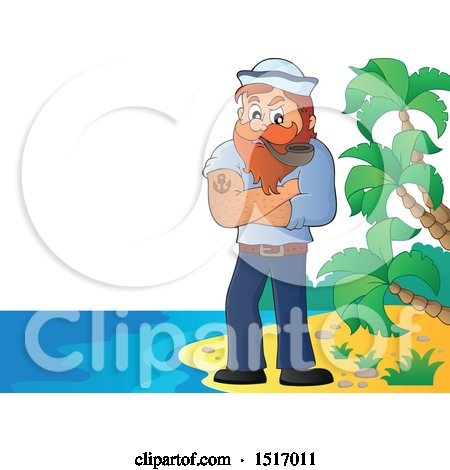 Clipart of a Sailor Smoking a Pipe on an Island Beach - Royalty Free Vector Illustration by visekart