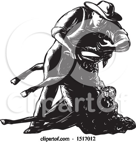 Clipart of a Farmer Shearing a Sheep, in Black and White Woodcut - Royalty Free Vector Illustration by patrimonio