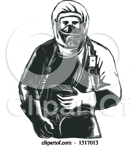 Clipart of a Paramedic in a Hazmat Suit, in Black and White Woodcut - Royalty Free Vector Illustration by patrimonio
