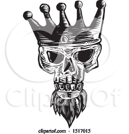 Clipart of a Bearded Skull Wearing a Kings Crown, in Black and White Woodcut - Royalty Free Vector Illustration by patrimonio