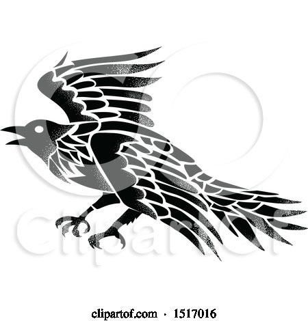 Clipart of a Black and White Raven in Tattoo Style - Royalty Free Vector Illustration by patrimonio