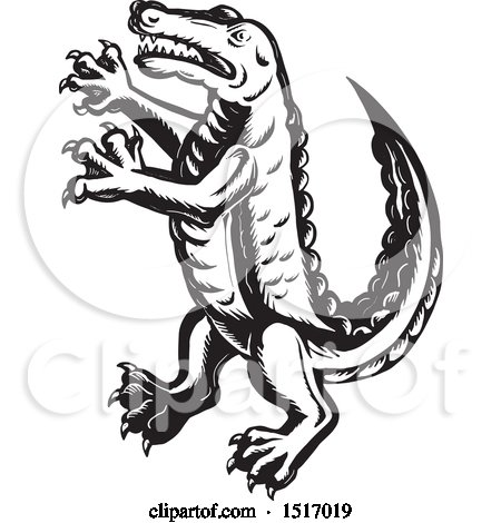 Clipart of a Rampant Alligator in Black and White Scratchboard Style - Royalty Free Vector Illustration by patrimonio
