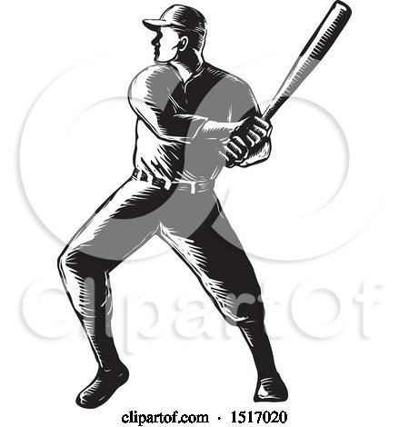 Clipart of a Batting Baseball Player, in Black and White Woodcut - Royalty Free Vector Illustration by patrimonio
