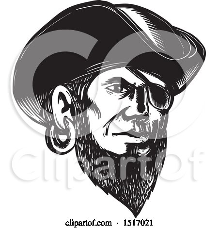 Clipart of a Pirate Wearing an Eye Patch and Tricorne Hat, in Black and White Woodcut - Royalty Free Vector Illustration by patrimonio