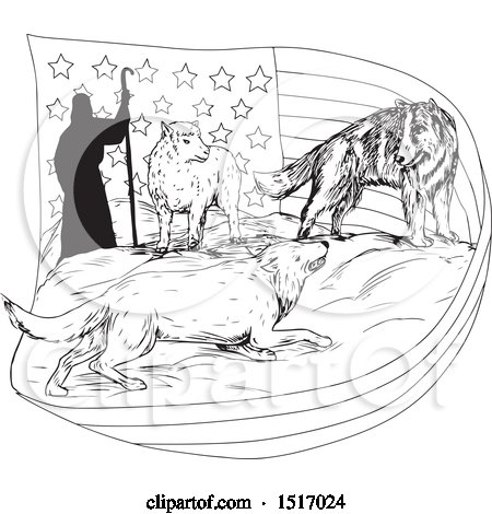 Clipart of a Black and White Sketched Shepherd with a Wolf and Dog Protecting a Lamb and Flag - Royalty Free Vector Illustration by patrimonio