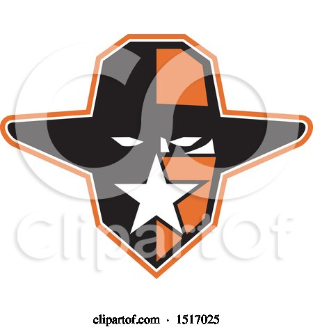 Clipart of a Texan Outlaw Wearing a Bandana and Cowboy Hat - Royalty Free Vector Illustration by patrimonio