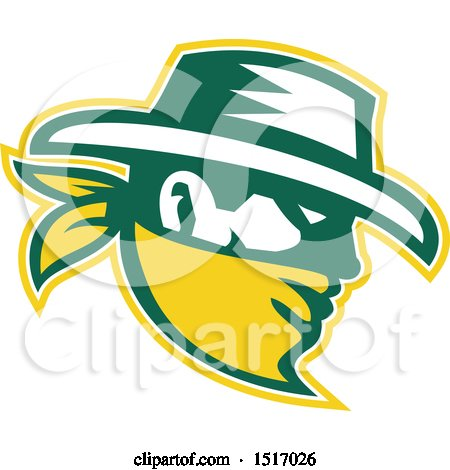 Clipart of a Cowboy in Profile in White, Green and Yellow - Royalty Free Vector Illustration by patrimonio