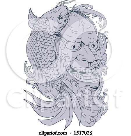 Clipart of a Hannya Mask of a Jealous Female Demon and Koi Fish - Royalty Free Vector Illustration by patrimonio