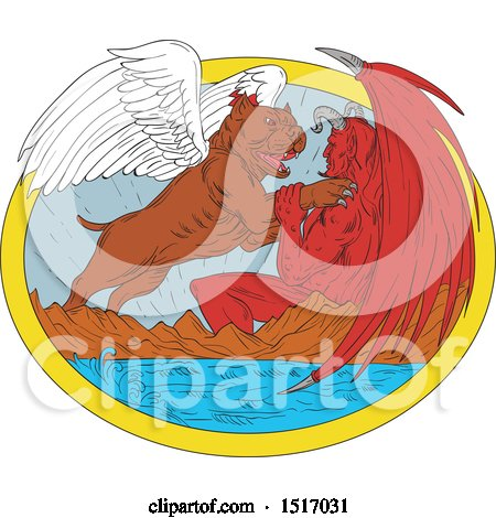 Clipart of a Pit Bull Dog Angel Fighting the Devil over a Lake - Royalty Free Vector Illustration by patrimonio